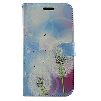 flores de dente de leão pu couro corpo inteiro carteira caixa protetora com suporte para Samsung Galaxy Gio S5660