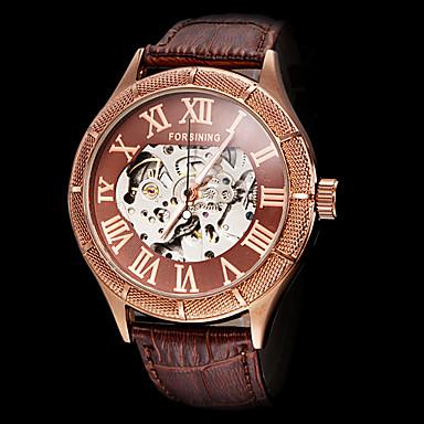 levne Pánské-FORSINING Pánské Hodinky s lebkou mechanické hodinky Automatické natahování Kůže Černá / Hnědá S dutým gravírováním Analogové Luxus - Bílá Černá Bronzová