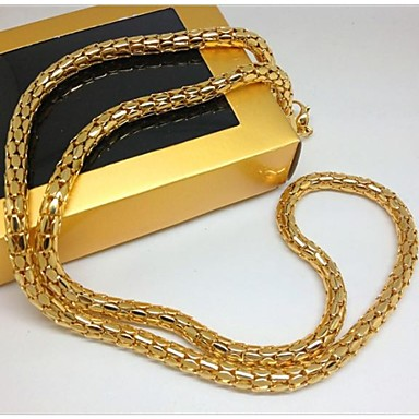 18k Yellow Gold Filled Franco Chain Box Link Curb Necklace