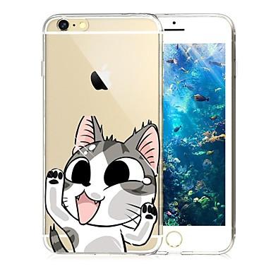 Capinha Para Apple iPhone 6 iPhone 6 Plus iPhone 7 Plus iPhone 7 Transparente Estampada Capa traseira Gato Macia TPU para iPhone 7 Plus