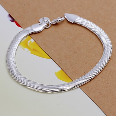 Erkek Zincir & Halka Bileklikler - Gümüş Kaplama Bilezikler Gümüş Uyumluluk Yılbaşı Hediyeleri Düğün Parti