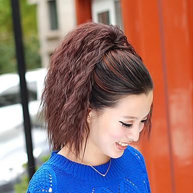 Κλασσικό Σγουρά Kinky Σγουρό Αλογορουρές Υψηλή ποιότητα Κομμάτι μαλλιών Hair Extension Σκούρο καφέ Καθημερινά