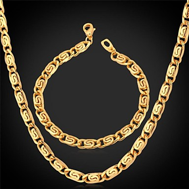 U7® Unique Design 18K Stamp Men's Gold Plated Chunky