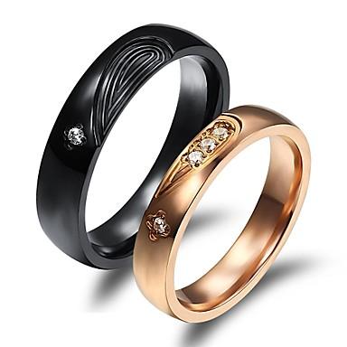 Homens Mulheres Anéis de Casal Chapeado Dourado 18k Ouro Casamento Festa Diário Casual Esportes Jóias de fantasia