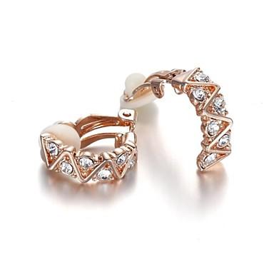 Kadın's Kristal Klipsli Küpeler - Kristal, Zirkon, Kübik Zirconia Gümüş / Altın Uyumluluk Düğün Parti Günlük / Altın Kaplama