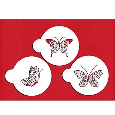 quatro c plástico stencil set top de decoração para a cor do bolo do copo branco, 3pcs / set st-569