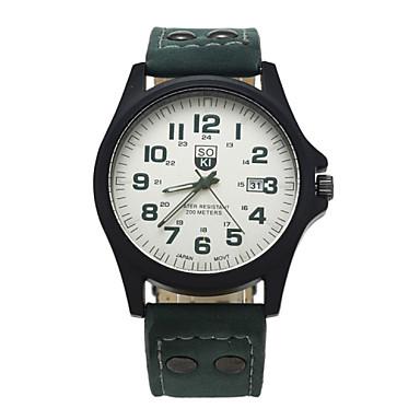 6d6b5b7f5093 abordables Relojes de Hombre-Hombre Reloj de Pulsera Cuarzo Piel Marrón    Verde   Caqui