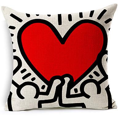 estilo moderno coração abstrato vermelho modelado algodão / linho cobertura decorativa travesseiro