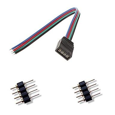 femal 4pin renkli led ışıklar konnektör + 2 x rgb 5050/3528 erkek konnektör 4pin led şerit ışık bağlamak