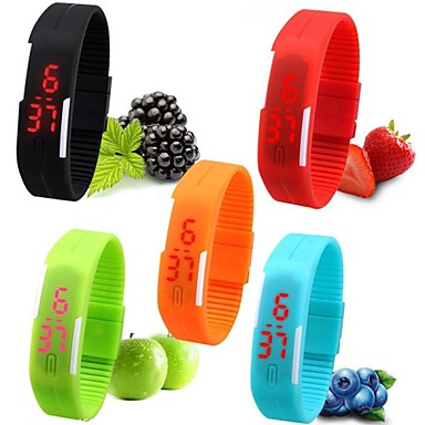 여성용 디지털 디지털 시계 손목 시계 팔찌 시계 스포츠 시계 캐쥬얼 시계 LED 실리콘 밴드 캔디 블랙 화이트 레드 핑크