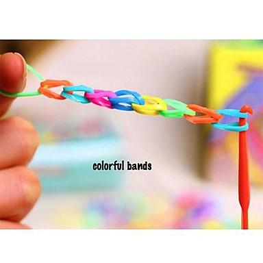 doudouwo® DIY twistz bandz gumi karkötő szett szivárvány színű szövőszék stílusban gyerekeknek hosszú kék doboz