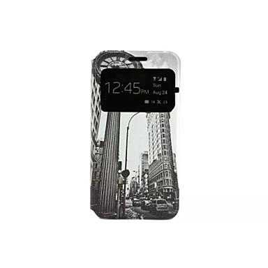 Pouzdro Uyumluluk Samsung Galaxy Samsung Galaxy Kılıf Satandlı Flip Temalı Tam Kaplama Kılıf Şehir Manzaralı PU Deri için A3