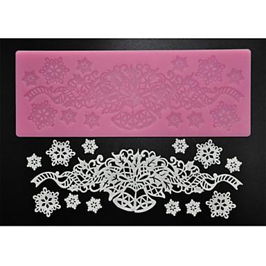 Pişirme için dört-c şeker zanaat malzemeleri silikon dantel yastık dekorasyon mat, silikon mat fondan kek araçları renk pembe