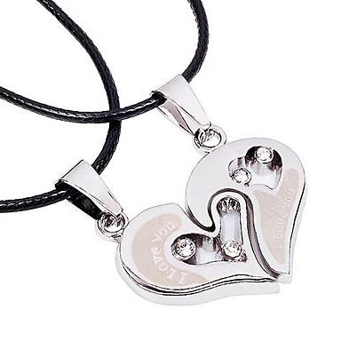 Homens Mulheres Coração Forma Amor Coração Gargantilhas Colares com Pendentes Liga Gargantilhas Colares com Pendentes Obrigado namorados