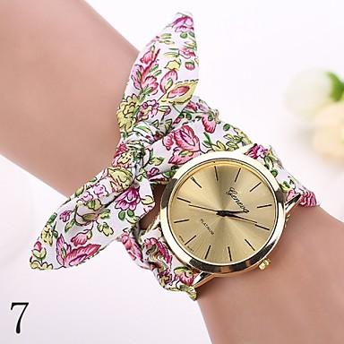 Kadın's Bilezik Saat Bilek Saati Quartz Gündelik Saatler Kumaş Bant Çiçek Moda Beyaz / Kırmızı Bir yıl Pil Ömrü / Jinli 377