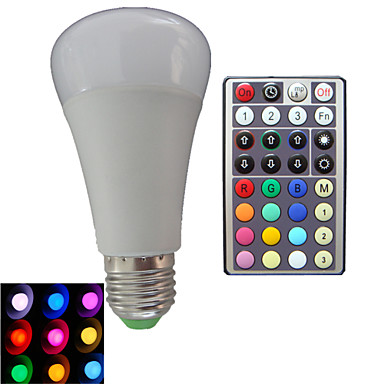 E26/E27 Lâmpada Redonda LED A80 3PCS leds LED de Alta Potência Regulável Controle Remoto Decorativa RGB RGB AC 85-265V