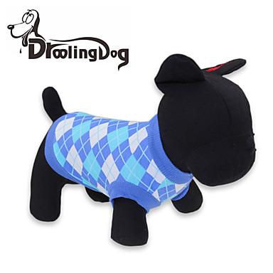 Γάτα Σκύλος Φανέλα Ρούχα για σκύλους Καρό/Τετραγωνισμένο Κόκκινο Μπλε Βαμβάκι Στολές Για κατοικίδια