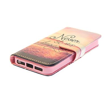 hoesje Voor iPhone 5 Apple iPhone 5 hoesje Kaarthouder Portemonnee met standaard Flip Patroon Volledig hoesje Woord / tekst Hard PU-nahka