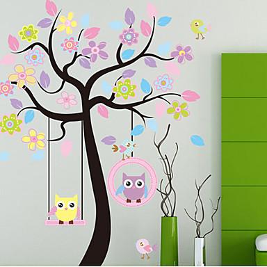 kleurrijke boom& uilen pvc muursticker