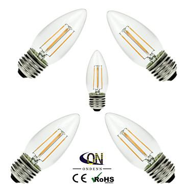 ONDENN 5pcs 2800-3200 lm E26 / E27 LED Filaman Ampuller C35 4 LED Boncuklar COB Kısılabilir Sıcak Beyaz 220-240 V / 110-130 V / 5 parça / RoHs