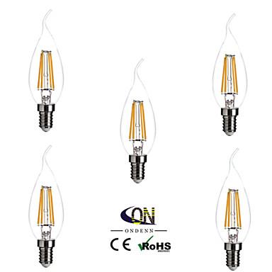 5pcs 4 W 2800-3200 lm E14 LED Filaman Ampuller 4 LED Boncuklar COB Kısılabilir Sıcak Beyaz 220-240 V / 5 parça / RoHs