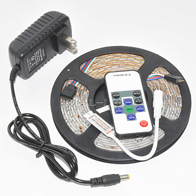 Z®zdm waterdichte 5m 300x3528 smd rgb led strip licht en 10key rf controller en 12v3a eu / us / uk voeding (ac110-240v)