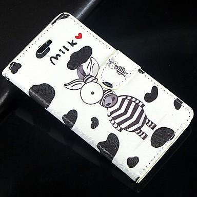 padrão de desenho animado zebra leite caso pu aleta de couro com fecho magnético e slot para cartão para o iphone 5c