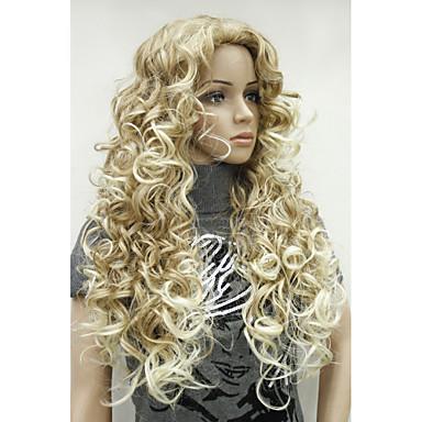 Sentetik Peruklar Bukle Sarışın Sentetik Saç 26 inç Ombre Saç / Yan Parti Sarışın Peruk Kadın's Uzun Bonesiz