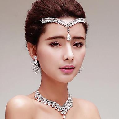 Dames Bergkristal Bruiloft Feest Speciale gelegenheden  Verjaardag Verloving Titanium Oorbellen Kettingen Tiara's