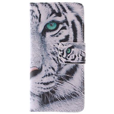 λευκό σχεδιασμό τίγρη PU δερμάτινη θήκη γεμάτο σώμα με βάση και υποδοχή κάρτας για το iphone 5γ
