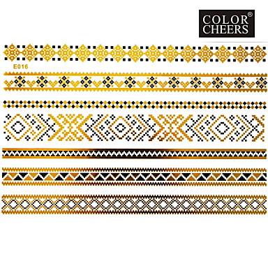 Tatoeagestickers - Patroon - Sieraden Series - voor Dames/Girl/Volwassene/Tiener - Goud - Papier - #(1) - stuks #(23x15) -#(Chinese