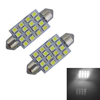 2pcs 80-100 lm Festoon 장식 조명 16 LED 비즈 SMD 3528 차가운 화이트 12 V / 2개