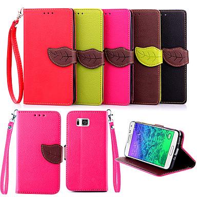 Voor Samsung Galaxy hoesje Kaarthouder / met standaard / Flip hoesje Volledige behuizing hoesje Effen kleur PU-leer Samsung Alpha