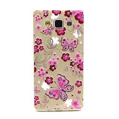 vlinders en bloemen met bling diamant patroon ultradunne reliëf TPU soft Cover Case voor Samsung Galaxy a5