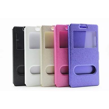 Voor Huawei hoesje P8 met standaard met venster Flip hoesje Volledige behuizing hoesje Effen kleur Hard PU-leer voor HuaweiHuawei P9
