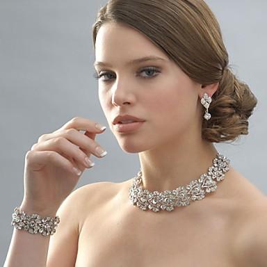 Mulheres Gargantilhas Pulseira Casamento Casamento Festa Strass Prata Chapeada Liga Jóias Brincos Colares Bracelete