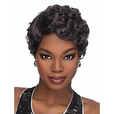 Cabelo Sintético perucas Ondulado Com Franjas Sem Touca Curto Preta