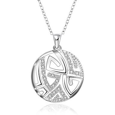 Női Circle Shape Geometric Shape Alak Divat Rövid nyakláncok Nyaklánc medálok Függők Nyilatkozat nyakláncok Szintetikus drágakövek Ezüst