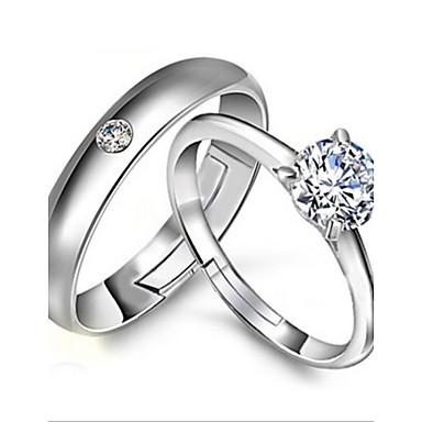 Γυναικεία Δακτύλιος Δήλωσης Ασημί Ασήμι Στερλίνας Προσαρμόσιμη Γάμου Πάρτι Αρραβώνας Κοστούμια Κοσμήματα