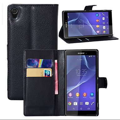 lichia em torno de suporte aberto telefone couro cartão da carteira adequado para sony z1 xperia (cores sortidas)