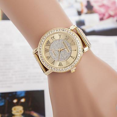 Dames Dress horloge Gesimuleerd Diamant Horloge Kwarts imitatie Diamond Legering Band Glitter Goud
