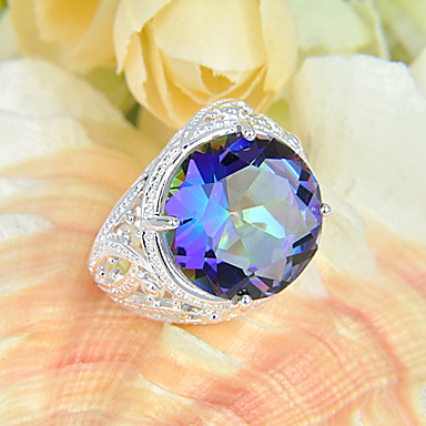 Dames Statement Ring Verzilverd Topaas Cirkelvorm Geometrische vorm Bruiloft Feest Dagelijks Causaal Sport Kostuum juwelen