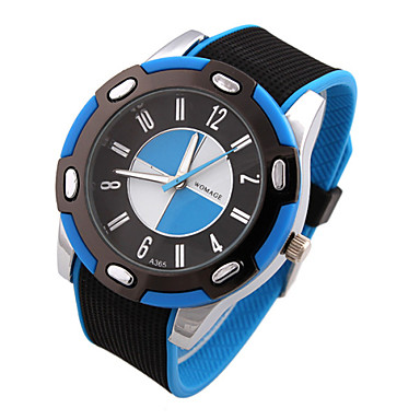 Masculino Relógio Esportivo Quartzo Silicone Banda Preta Preto/Azul