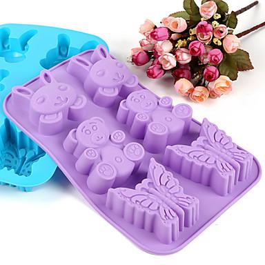 ζώα σχήματος καλούπι σιλικόνης φόρμες ψησίματος πάγου / σοκολάτα / τούρτα (τυχαία χρώμα)