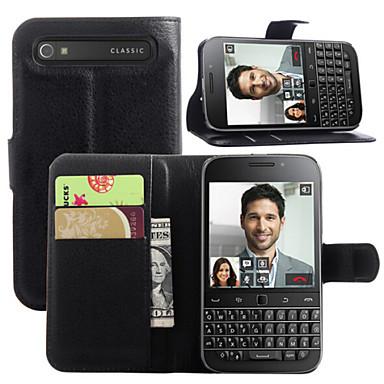 Για Θήκη BlackBerry Πορτοφόλι / Θήκη καρτών / με βάση στήριξης / Ανοιγόμενη tok Πλήρης κάλυψη tok Μονόχρωμη Σκληρή Συνθετικό δέρμα για
