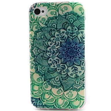 flores material pattern verde TPU caso de telefone macio para iPhone 4 / 4S