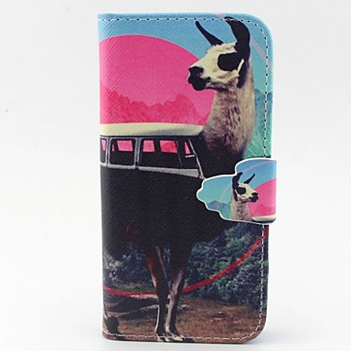 edelherten patroon pu lederen full body case met kaartslot en staan ​​voor iPhone 5c