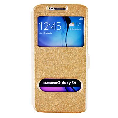 Για Samsung Galaxy Θήκη με βάση στήριξης / με παράθυρο / Ανοιγόμενη tok Πλήρης κάλυψη tok Μονόχρωμη Συνθετικό δέρμα Samsung S6
