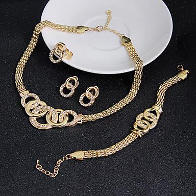 Dames Sieraden Set Oorbel Armband Opvallende sieraden Vintage Kostuum juwelen Kubieke Zirkonia Cirkelvorm Kettingen Oorbellen Ringen