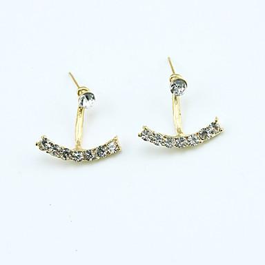 Mulheres Cristal Strass Chapeado Dourado Cristal Austríaco Brincos Curtos - Fashion Europeu Dourado Prata Brincos Para